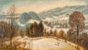 Heinz Felsch (1922 Weißenfels/Saale - 2016 Halle/Saale)Landschaft bei Wippra.Mischtechnik auf