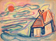 Edmund Kesting (1892 Dresden - 1970 Birkenwerder b. Berlin)Abendliches Lichtspiel.Mischtechnik. Um