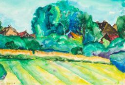 Wasja Götze (1941 Altmügeln bei Oschatz ,lebt in Halle/Saale)Althagen im Juli.Aquarell, Gouache.