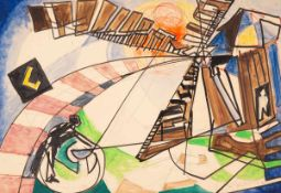Edmund Kesting (1892 Dresden - 1970 Birkenwerder b. Berlin)Mühle (Sturm-Bild).Mischtechnik auf