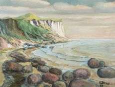 Liselotte Dross (1887 Sorau - 1996 Payrac)Kreidefelsen.Öl auf Malplatte. 1949. 465 x 610 mm. U. r.
