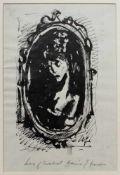 """Fronius Hans1903-2001DamenportraitTusche auf Papier, in Passepartout, mit Widmung """"Herzlichst dein"""