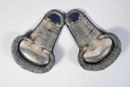 Paire d'épaulettes de Bürgerwehr Bavarois : officier vétérinaire vers 1848, blanches à écailles,