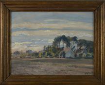 """Albert Mühlig (1862 - 1924) - Gouache auf Papier, """"Anwesen unter hohen Bäumen in der Dresdener"""