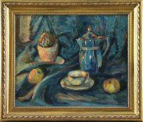 """Richard Eggers (1905 - 1995) - Öl auf Leinwand, """"Stillleben mit Früchten, Kaktus, Kanne und Tasse"""