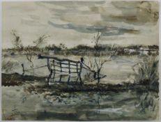 """Philipp Karl Seitz (1901 - 1982) - Aquarell/Tusche auf Papier, """"Flußlandschaft mit Fischerkaten am"""