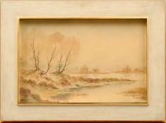 """Maler (20. Jhd.) - Aquarell auf Papier, """"Winter am Fluß""""unten rechts signiert, guter"""
