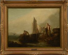 """James Webb (1825 - 1895) - Öl auf Leinwand, """"Fischer im Boot seine Netze einholend, am Ufer ein Mann"""