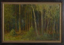 """Friedrich Wilhelm Schwinge (1852 - 1913) - Öl auf Malkarton, """"Abend im Walde""""unten rechts"""