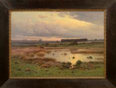 """Emile Joseph Lavigne (1827 - 1875) - Öl auf Leinwand, """"Hirtin mit ihren Rindern unter morgenrotem"""