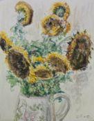 """Philipp Karl Seitz (1901 - 1982) - Farbkreide/Zeichnung auf Papier, """"Stilleben mit Sonnenblumen"""""""