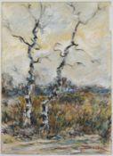 """Philipp Karl Seitz (1901 - 1982) - Mischtechnik auf Papier, """"Kahle Birken im Herbst""""unten rechts"""