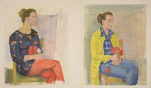 "Rolf Diener (1906 - 1988) - 1 Paar Aquarelle auf Papier, ""Portrait Irma Kruspe"", 12.5.73 / 11.11."