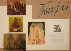 Usi Krejci (20. Jahrhundert) - Signierte Künstlermappe mit 4 Mischtechniken, 2 Farblithographien