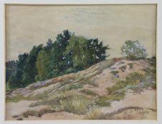 """Peter Würth (1873 - 1945) - Aquarell auf Papier, """"Dünenlandschaft mit Baumgruppe"""", (19)18unten"""