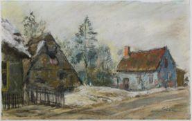 """Philipp Karl Seitz (1901 - 1982) - Aquarell auf Papier, """"Häuser mit Birken""""unten rechts signiert,"""