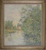 """Paul Schmersahl (1902 - 1981) - Öl auf Leinwand, """"Norddeutsche Flußlandschaft mit Holzkahn am Ufer"""""""