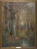"""Franz Josef Georg Illem (1865 - 1912) - Öl auf Leinwand, """"Lichter Herbstwald mit einer"""