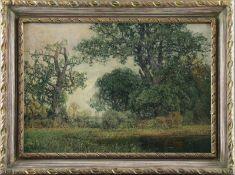 """Georg Meinzolt (1863 - 1948) - Öl auf Leinwand, """"Impressionistische Landschaft mit kleinem Weiher"""""""