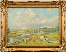 """Robert C.D. Lowry (1924 - 2011) - Öl auf Leinwand, """"Landschaft in der Nähe von Barnstaple, England"""""""