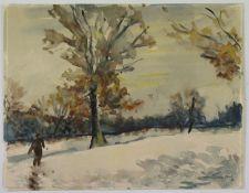 """Philipp Karl Seitz (1901 - 1982) - Aquarell auf Papier, """"Spaziergang im Winter""""unten rechts"""