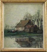 """Philipp Karl Seitz (1901 - 1982) - Öl auf Malkarton, """"Marsch-Motiv (Ochsenwerder)"""", 1965unten rechts"""