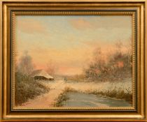 "Robert de Haan (1943 - ?) - Öl auf Leinwand, ""Spaziergänger in Winterlandschaft unter abendrotem"