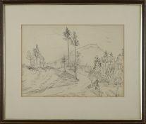 """Gretchen Wohlwill (1878 - 1962) - Federzeichnung auf Papier, """"Landschaft mit Berg""""unten rechts mit"""