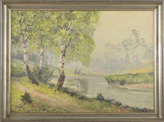 """Hans Kaluske (1915 - ?) - Öl auf Leinwand, """"Maimorgen am Tegeler Fliess / Bach im Norden von"""