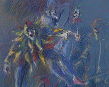 """Peter Grochmann (1956 - 2009) - Farbkreide auf Papier, """"Harlekin mit Maske auf dem Seil und"""