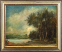 "Franz Frahm-Hessler (1898 - 1990) - Öl auf Leinwand, ""Waldstück am Seeufer""unten links Ritzsignatur,"