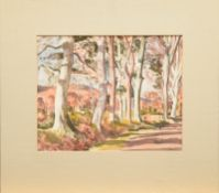 "Tom Nisbet R.H.A (1909 - 2001) - Aquarell auf Papier, ""Road to Enniskerry""unten rechts in Rot"