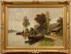 """Henk Bellaard (1896 - 1975) - Öl auf Leinwand, """"Niederländische Flußlandschaft mit beladenem Kahn am"""