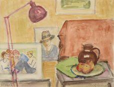 """Rolf Diener (1906 - 1988) - Aquarell auf Papier, """"Interieur mit Fotographien und Stillleben"""", 23."""