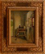 """Max Gaisser (1857-1922) - Öl auf Leinwand, """"Bauerntisch mit Keramikkrügen in der Diele""""unten links"""