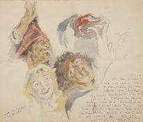 "Peter Grochmann (1956 - 2009) - Aquarell über Bleistift auf Papier, ""Skizze nach J. Jordaens (1593 -"