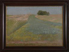 "Alphons Maria Frieling (1873 - 1937) - Öl auf Platte, ""Am Feldrain bei Worpswede"", 1911unten"