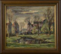 """Heinrich Kasten (1899 - 1966) - Öl auf Hartfaserplatte, """"Park am Weiher in Hamburg Blankenese"""","""