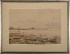 """Amelie Ruths (1871 - 1956) - Aquarell auf Papier, """"Wattenmeer mit Blick auf eine Hallig"""", 19??"""