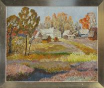"""Monogrammist """"A.P."""" (20./21. Jhd.) - Öl auf Leinwand, """"Herbstliche Landschaft mit Häusergruppe""""unten"""