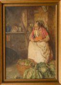 """Giuseppe Giardiello (1887 - 1920) - Öl auf Leinwand, """"Lavori in Cucina/Alte Frau beim Zubereiten"""