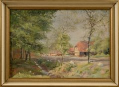 "Paul Hey (1867 - 1952) - Öl auf Leinwand, ""Frühlingsimpression im alten Dorf""unten mittig"
