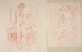 """Rolf Diener (1906 - 1988) - 1 Paar Rötelzeichnungen auf Papier, """"Stehender und sitzender"""