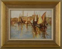 """Maler 20. JHd., Öl auf Hartfaserplatte- """"Fischerboote vor Venedig""""unsigniert, originaler Zustand -"""