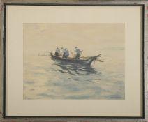 """Georg Lehmann-Fahrwasser (1887 - 1977) - Aquarell auf Papier, """"Hafffischer im Morgenlicht"""", (19)"""