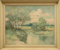 """Otto Wild (1898 - 1971) - Öl auf Hartfaserplatte, """"Im Estetal""""unten rechts signiert, guter"""