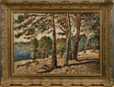 """Expressionist im Stil von Wassily Kandinsky - Öl auf Holz, """"Märkische Landschaft am See"""", 1. H."""