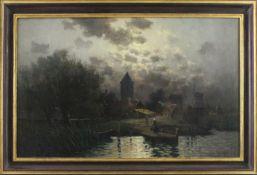 """Jean Hendrichs (19./20. Jahrhundert) - Öl auf Leinwand, """"Mondnacht über holländischer"""