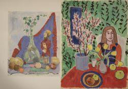 """Rolf Diener (1906 - 1988) - 1 Paar Aquarelle auf Papier, """"Frau am Tisch / Tischstillleben mit"""