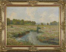 """Henry Gundlach (1884 - 1964) - Öl auf Hartfaserplatte, """"Blühende Wiesenlandschaft an der Seeve""""unten"""
